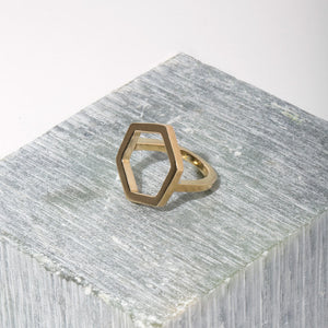 Hexagon Shape Shifter Ring | Brass