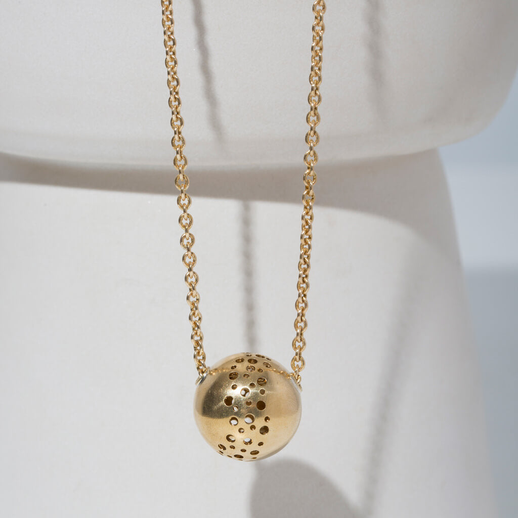 MULXIPLY Moon Necklace in Brass