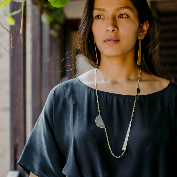 Path Pendant Necklace | Brass