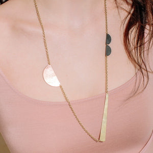 MULXIPLY Path Pendant Necklace - Mixed Metals