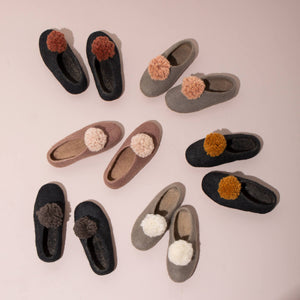 Pom Pom Felt Slippers - Dark Grey + Black