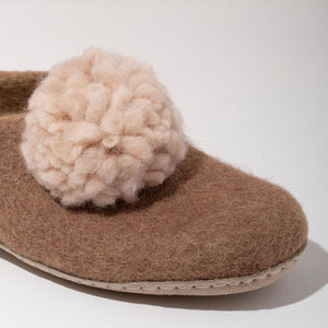 Pom Pom Felt Slippers - Blush