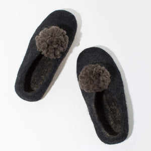 MULXIPLY Pom Pom Felt Slippers - Dark Grey + Black