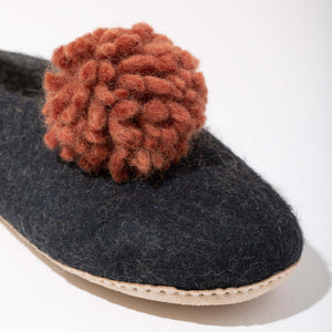 Pom Pom Felt Slippers - Dark Grey + Rust