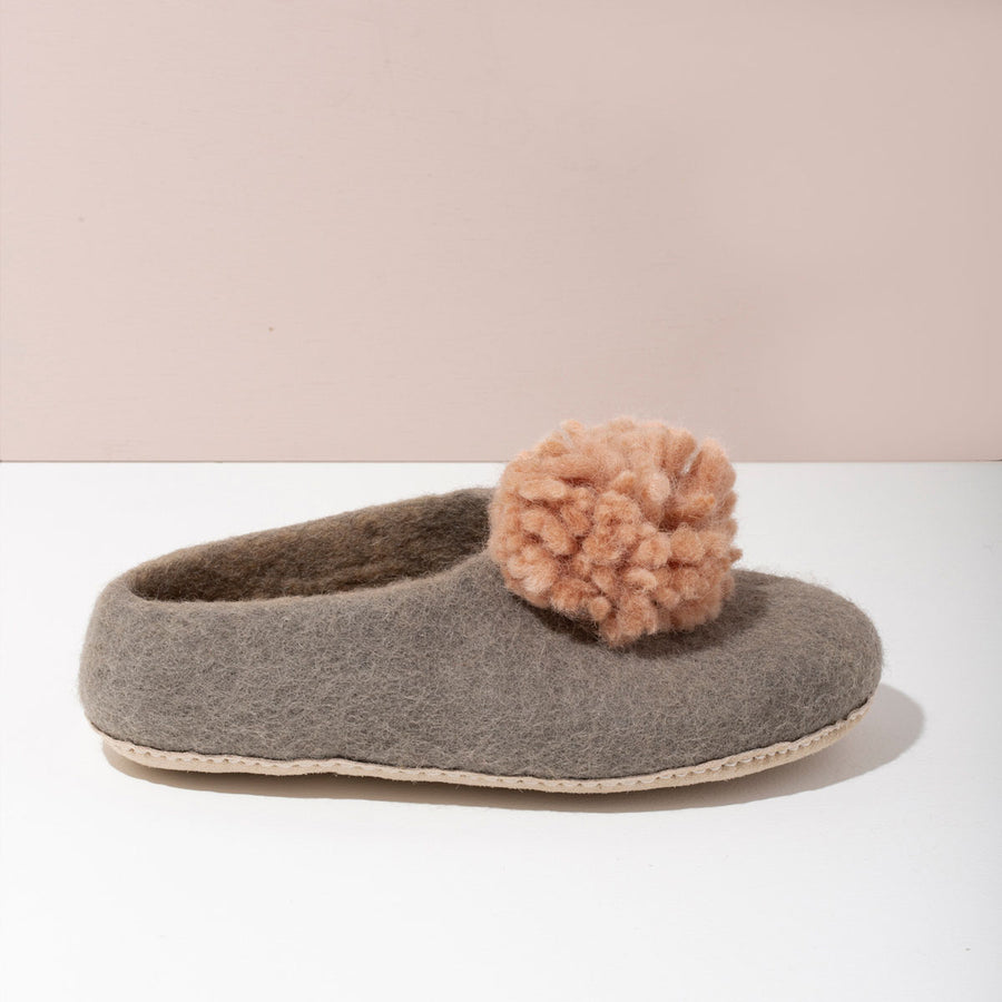 MULXIPLY Pom Pom Felt Slippers - Light Grey + Blush