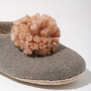 Pom Pom Felt Slippers - Light Grey + Blush | SHIPPING 10/28