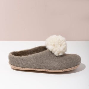 Pom Pom Felt Slippers - Light Grey + White