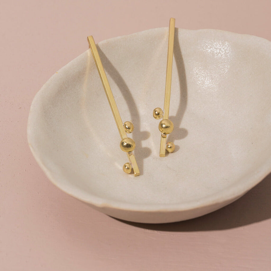 Rain Earrings - Brass