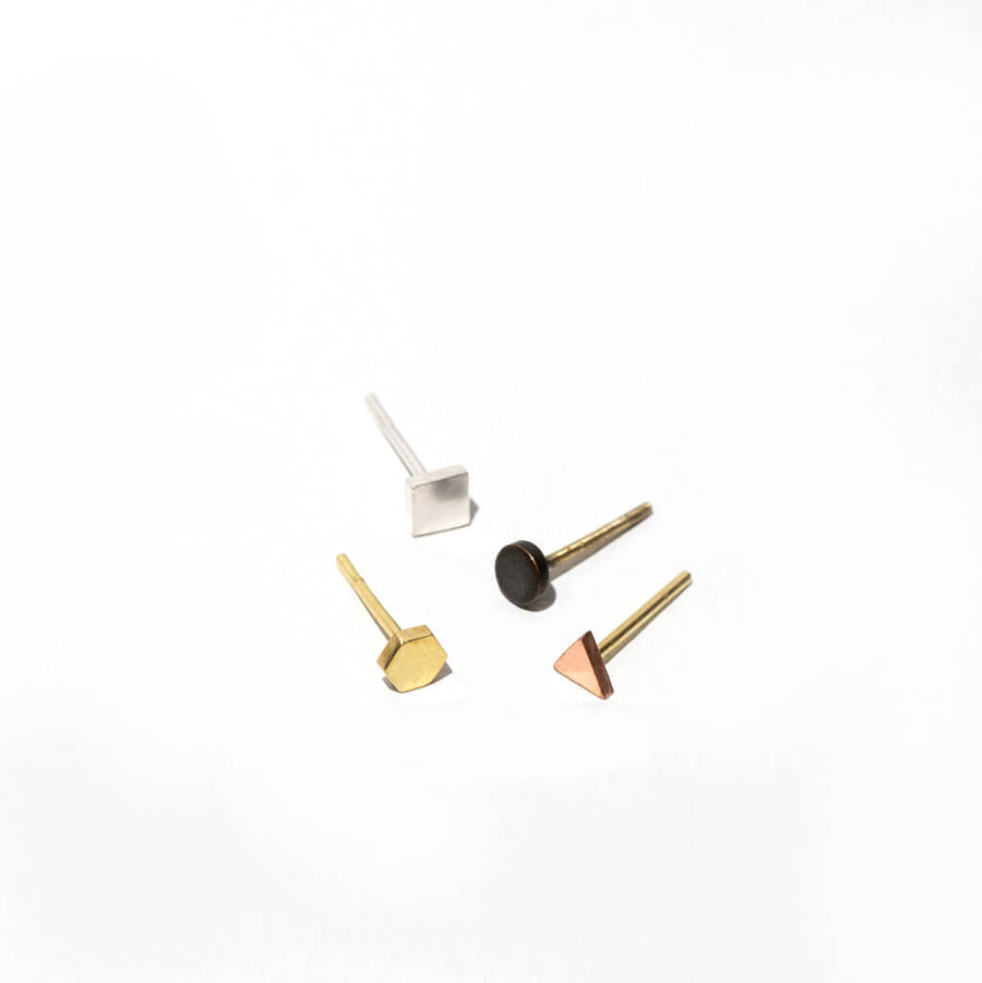 MULXIPLY Tiny Shapes Set of 4 Studs - Mixed Metals