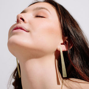 MULXIPLY Smooth Path Statement Earrings - Brass