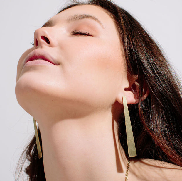 Smooth Path Statement Earrings | Brass 1