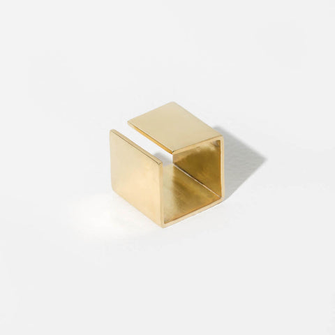 Smooth Path Adjustable Square Ring | Brass