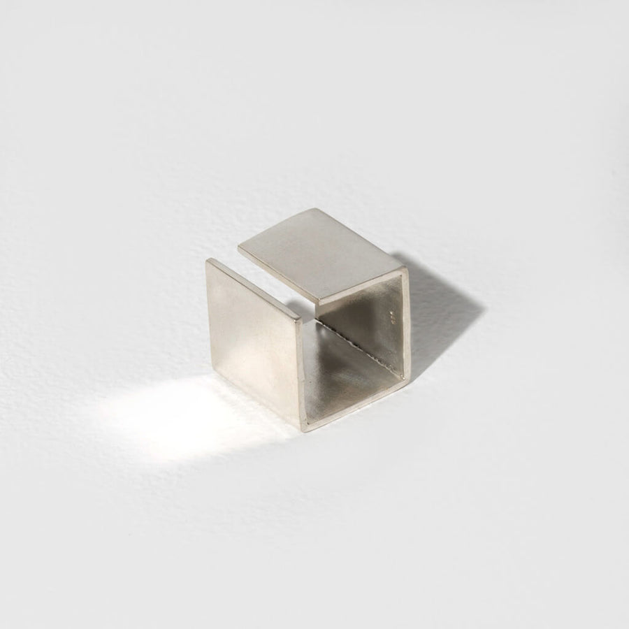 MULXIPLY Smooth Path Adjustable Square Ring - Sterling Silver