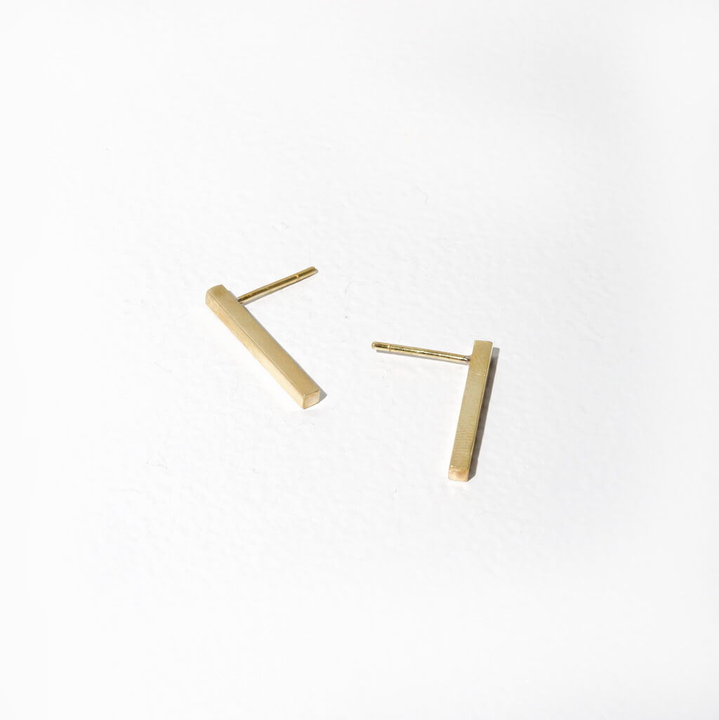 MULXIPLY Stick Stud Earrings - Brass