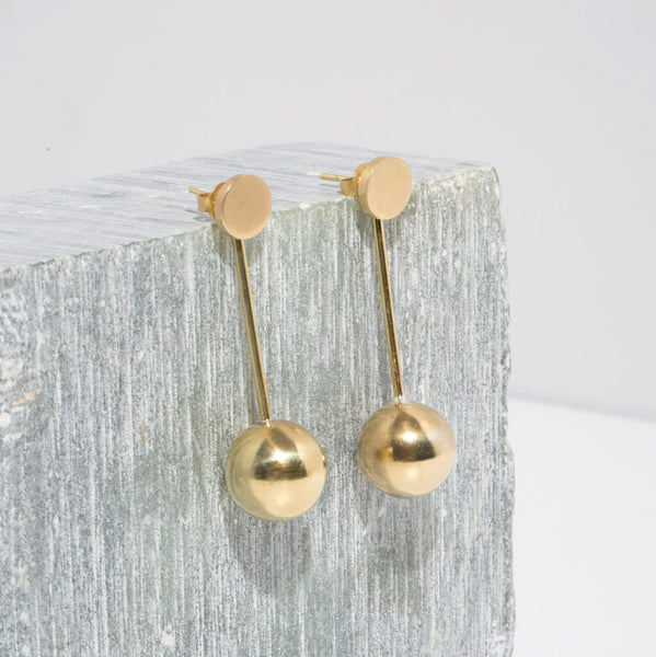 Strength Pendulum Jacket Earrings | Brass or Sterling