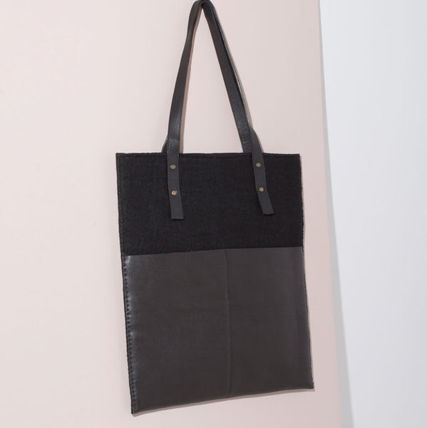 Felt + Leather Market Tote | Black or Brown/Grey