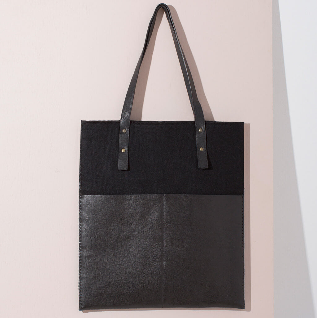 MULXIPLY Felt + Leather Market Tote - Black