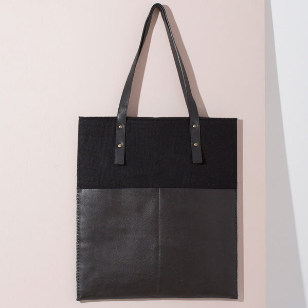 Felt + Leather Market Tote | Black