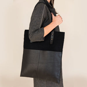 Felt + Leather Market Tote - Black