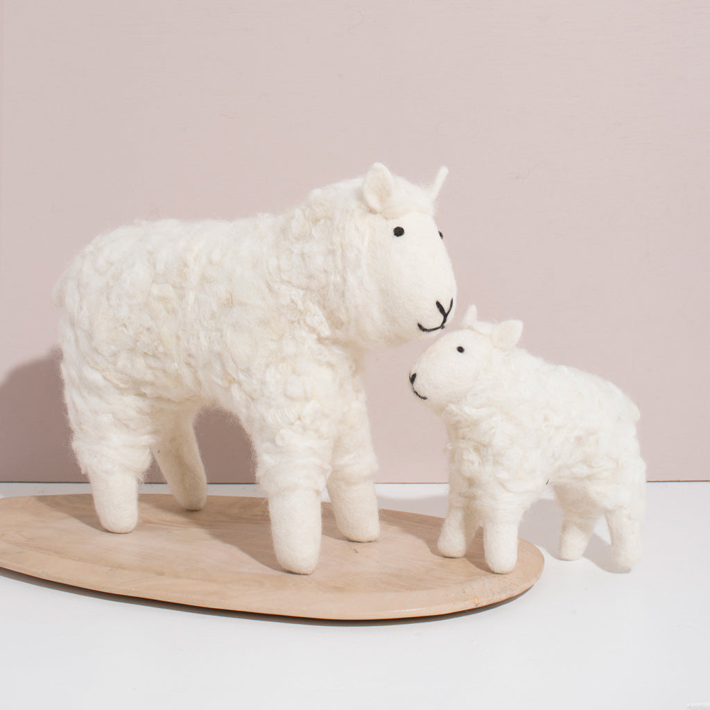 Hand Felted Sheep Duo - White