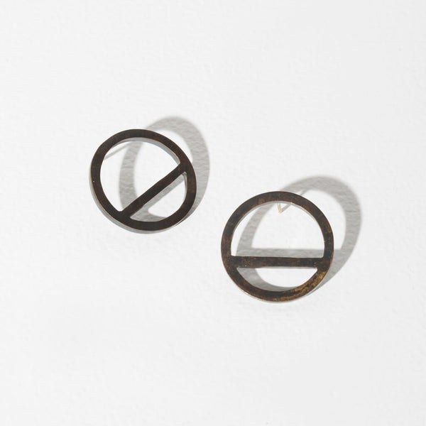 Wink Circle Earrings | Oxidized Brass