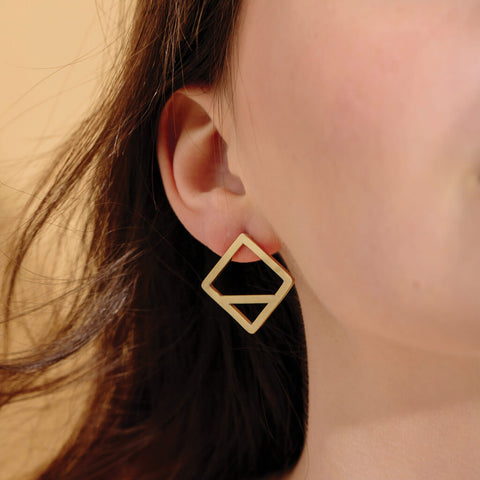 Wink Square Earrings | Brass