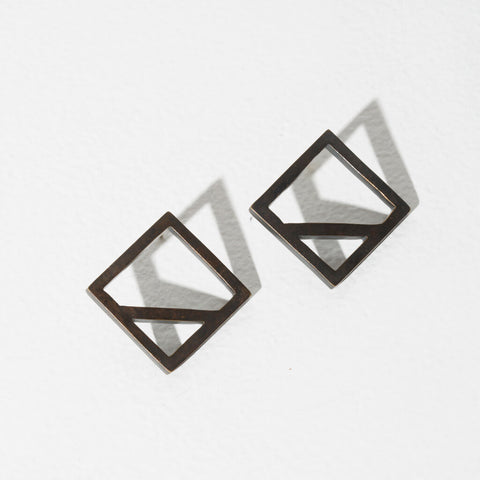 Wink Square Earrings | Oxidized Brass