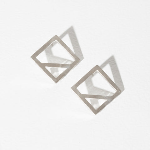 Wink Square Earrings | Sterling