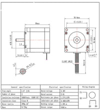 "Load image into Gallery viewer, Nema 23 Stepper Motor 2.8A 56mm Shaft Size 1/4"" Holding Turque 1.26N.m"