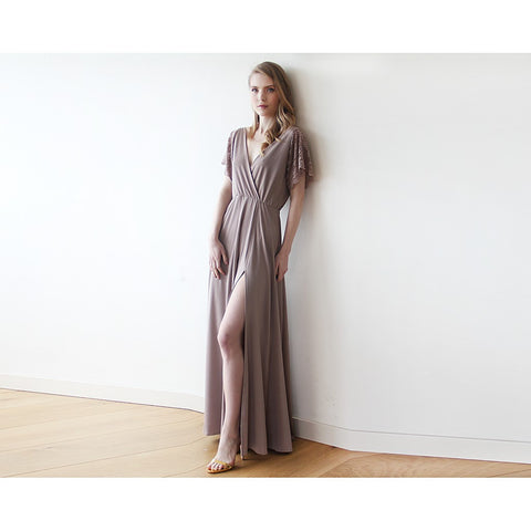 Taupe wrap maxi dress with lace sleeves with slit