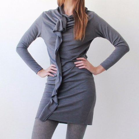 Gray Sexy Knit Dress with Ruffle Details