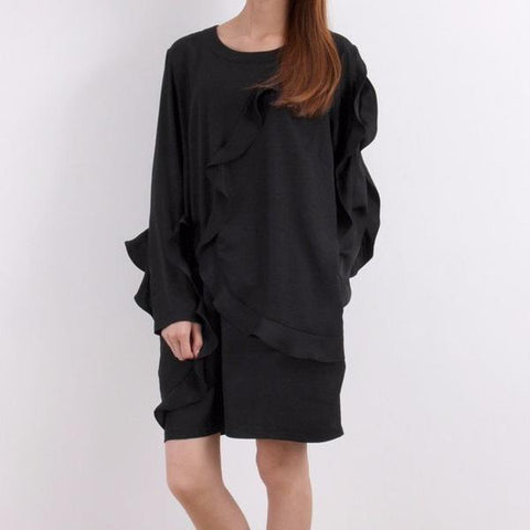 Korean Black Asymmetric Ruffle Trim Dress