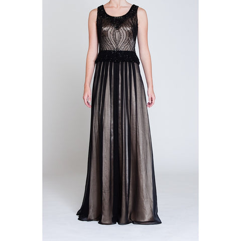 Black Heavy Embellished Silk Evening Dress