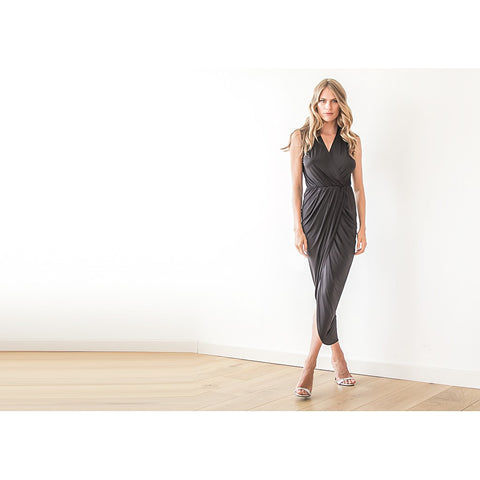 Black sleeveless tulip wrap maxi dress