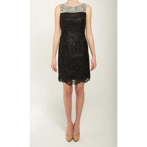Sleeveless Lace Dress with Crystal Neck Embellishments