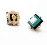 Square Shape Green Crystal Stud Earrings
