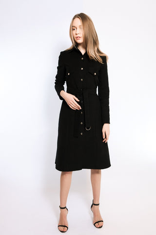 Black velvet  shirt-dress
