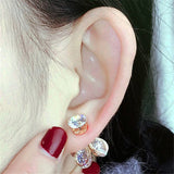 Rhinestone Flower 2 sides Stud Earrings