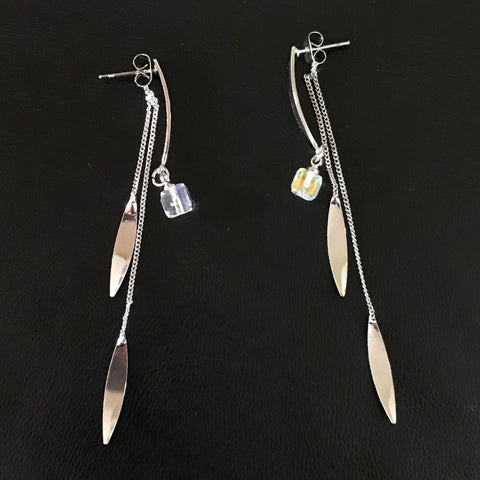 Dangle Leaf with Rhinestone 2 Sides Drop Earrings