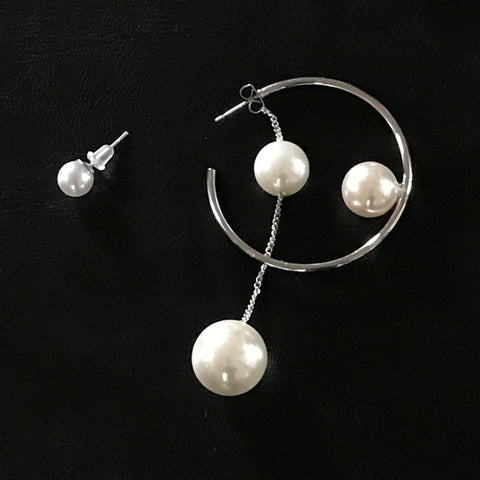 Silver Ring Unmatched Pearl Drop Earrings