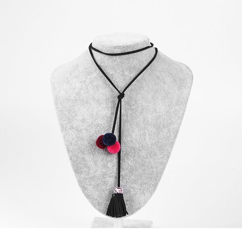 Long Black Tassel Fuzz Ball Pendant Necklaces