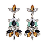 Multicolored Rhineshone Drop Earrings