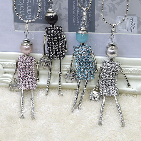 Handmade rhinestones French doll pendant necklace