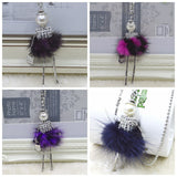 Handmade fur dress French doll pendant necklace