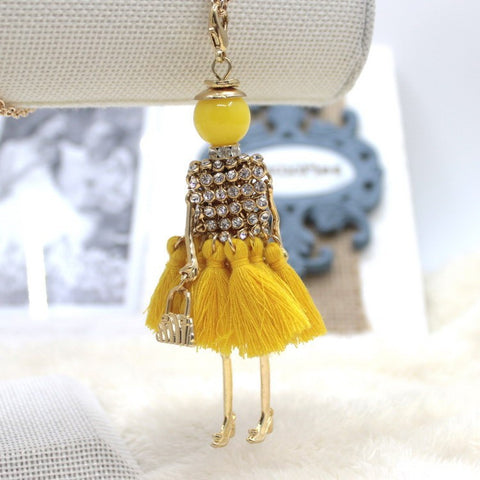 Handmade Yellow French doll necklace with tassels and rhinestones