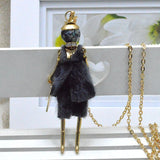 Handmade luxury fur dress French doll pendant necklace
