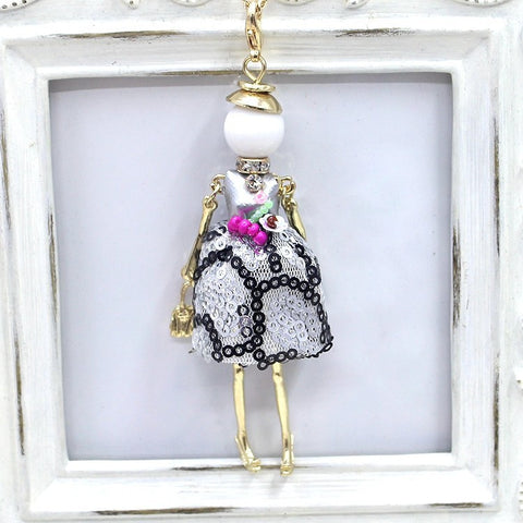 Handmade fancy sequence dress French doll pendant necklace