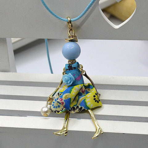 Girl French Doll Necklace with Blue Multicolored Dress
