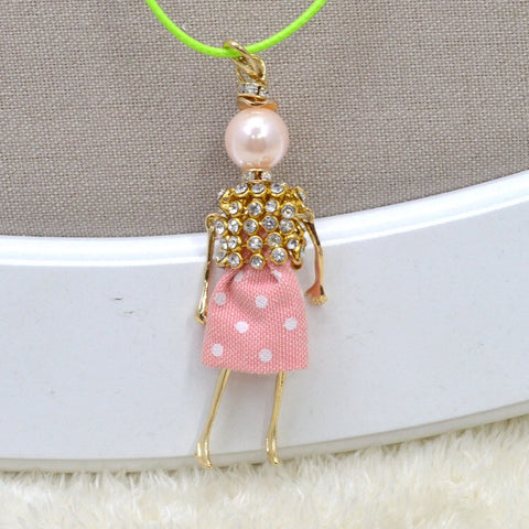 Girl French Doll  Necklace with Elegant Rhinestone Pink dress