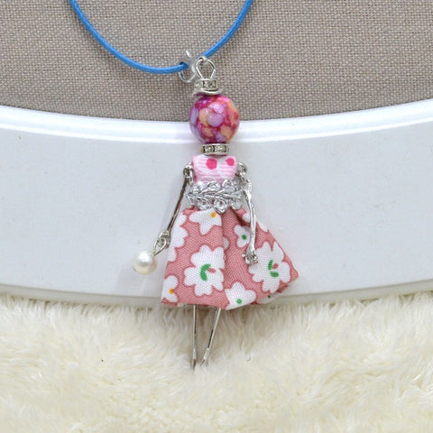 Girl French Doll Necklace with White Flower Print Pink Dress